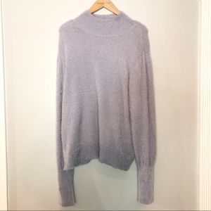 Leith Mock Neck Lilac Grey Sweater Size XL